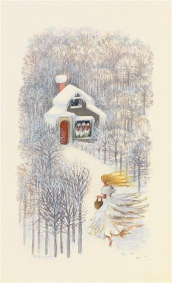LUCILLE CORCOS. Group of 7 illustrations for Grimms Fairy Tales.