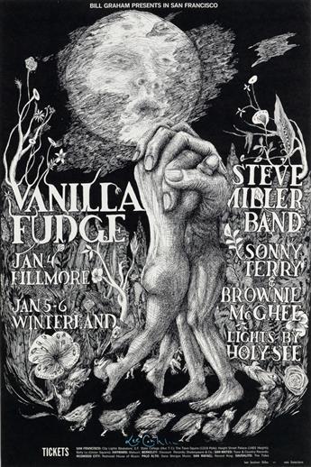 LEE CONKLIN (1941- ). VANILLA FUDGE / STEVE MILLER BAND. 1967. 20x14 inches, 52x35 cm. Tea Lautrec Litho., San Francisco.