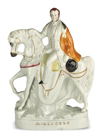 (SCULPTURE.) Porcelain equestrian figure titled A. Lincoln.