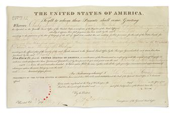 ADAMS, JOHN QUINCY. Partly-printed vellum Document Signed, J.Q. Adams, as President, granting 154 acres in the District of Detroit to