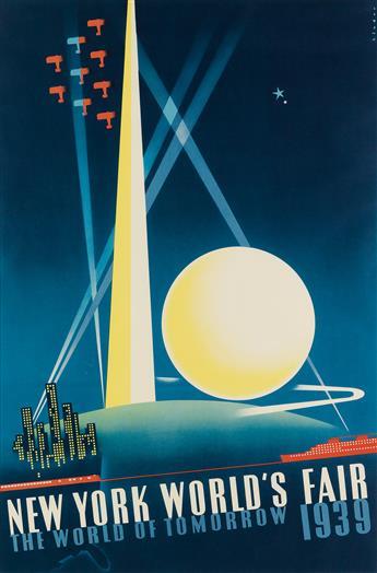 JOSEPH BINDER (1898-1972). NEW YORK WORLDS FAIR / THE WORLD OF TOMORROW. 1939. 29x19 inches, 74x49 cm.