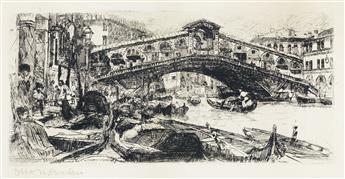 OTTO BACHER The Rialto Bridge and Grand Canal, Venice.