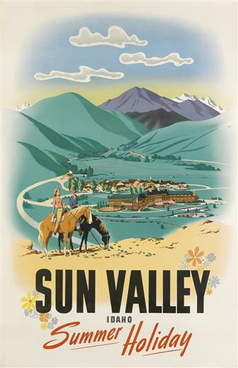 WILLIAM WILLMARTH (1898-1984). SUN VALLEY IDAHO / SUMMER HOLIDAY. 1939. 38x25 inches, 97x63 cm. R.M. Rigby Ptg. Co., Kansas City.