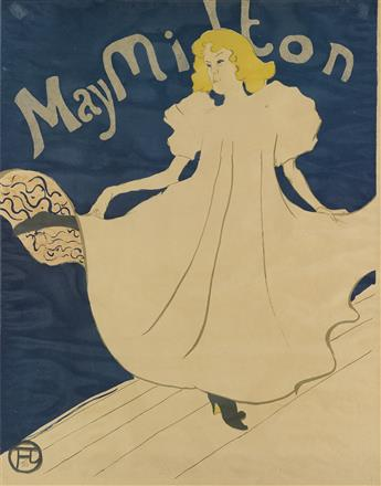 HENRI DE TOULOUSE-LAUTREC (1864-1901). MAY MILTON. 1895. 31x24 inches, 78x61 cm. [Edw. Ancourt, Paris.]
