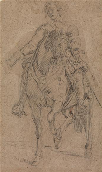 DUTCH SCHOOL, 17TH SCHOOL A Cavalier on Horseback.