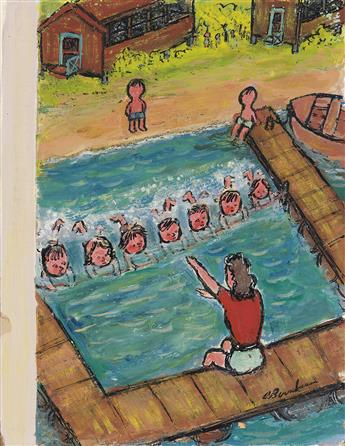 (THE NEW YORKER)  ABE BIRNBAUM. Summer Camp Swimming Lesson.