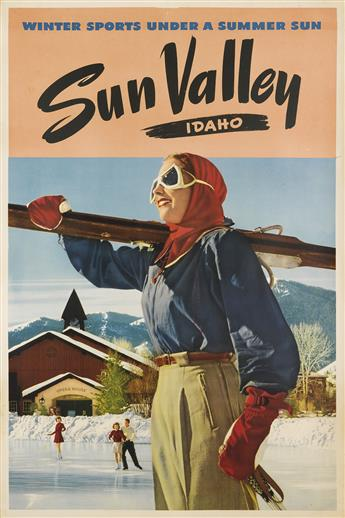 DESIGNER UNKNOWN. SUN VALLEY / IDAHO / WINTER SPORTS UNDER A SUMMER SUN. Circa 1930s. 37x25 inches, 96x64 cm.