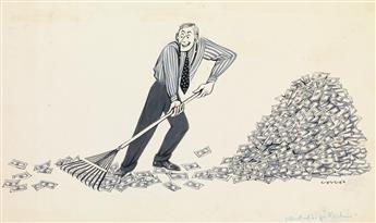 (CARTOON.) LUCILLE CORCOS. Raking in the Money * Non-Pop Button Corp.