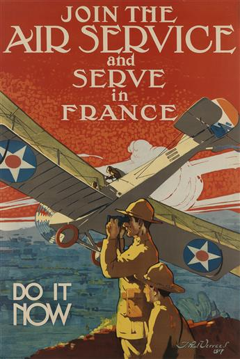J. PAUL VERREES (1889-1942). JOIN THE AIR SERVICE AND SERVE IN FRANCE. 1917. 37x25 inches, 94x63 cm. Ketterlinus, Philadelphia.