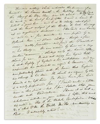 (TRAVEL.) Group of 3 travel letters describing New York, Joice Heth, and a visit to President Van Buren.