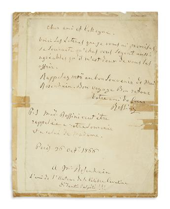 ROSSINI, GIOACCHINO. Autograph Letter Signed, Rossini, to Mr. [Jakob?] Rosenhain, in French,