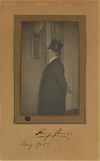 JAMES, HENRY. Photograph dated and Signed, half-length portrait by Boughton,