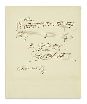 RUBINSTEIN, ANTON. Autograph Musical Quotation Inscribed and Signed, Ant. Rubinstein, to Frits Hartvigson (Fritz Hartwigson), in Ge