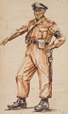 MASOOD ALI WILBERT WARREN (1907 - 1995) Group of 4 World War II crayon drawings.