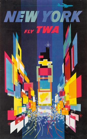 DAVID KLEIN (1918-2005). NEW YORK / FLY TWA. Circa 1960. 40x24 inches, 101x63 cm.