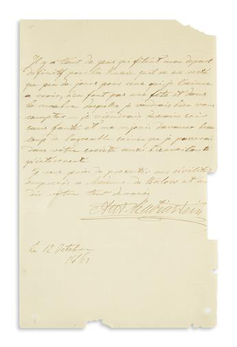 RUBINSTEIN, ANTON. Autograph Letter Signed, Ant. Rubinstein, to an unnamed recipient (lacking salutation), in French,