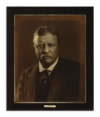 (PRESIDENTS--1919.) Underwood & Underwood. Extremely large presentation photograph of Theodore Roosevelt.