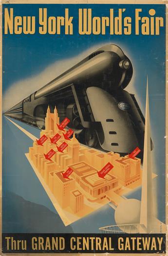 SASCHA MAURER (1897-1961). NEW YORK WORLDS FAIR / THRU GRAND CENTRAL GATEWAY. Circa 1939. 41x27 inches, 105x68 cm. Kelly, Nason, Inc.,
