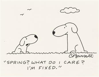 (THE NEW YORKER / DOG / CARTOON.) CHARLES BARSOTTI. Spring? What do I care? Im fixed.