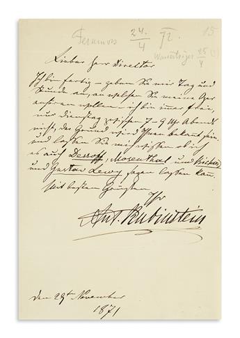 RUBINSTEIN, ANTON. Autograph Letter Signed, Ant. Rubinstein, to Johann von Herbeck (Dear Mr. Director), in German,
