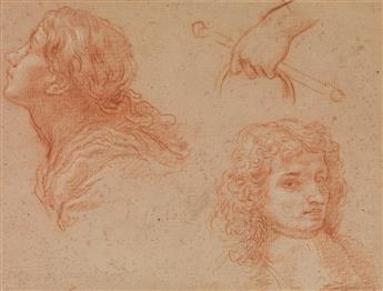 BALDASSARE FRANCESCHINI (Volterra 1611-1689 Florence) A Study of Heads and Hands; Figural Studies.