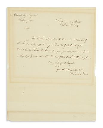 ADAMS, JOHN QUINCY. Letter Signed, as Secretary of State, to Manuel Eyre, Jr.,