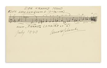 SCHOENBERG, ARNOLD. Autograph Musical Quotation dated and Signed, ArnoldSchoenberg, 5 bars from Der kranke Mond in his Pierrot Luna