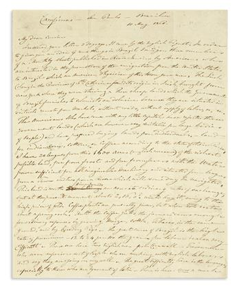 (BRAZIL.) Daunt, Richard Gumbleton. Letter describing Irish immigration to Brazil.
