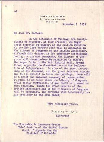 MACLEISH, ARCHIBALD. Typed Letter Signed, as Librarian of Congress, to Justice D. Lawrence Groner (My dear Mr. Justice),