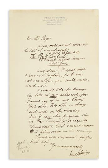 SCHOENBERG, ARNOLD. Autograph Letter Signed, twice, to Dear Mr. Rogers, in English,