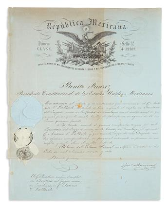 JUÁREZ, BENITO. Partly-printed Document Signed, as President, appointing C. Antonio V. Gollardo Secretary of the minor court in the cit