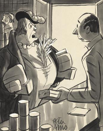 (THE NEW YORKER.) PETER ARNO. Young man! You put that celery in a bag, where it belongs!