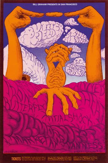 LEE CONKLIN (1938- ). BUTTERFIELD BLUES BAND / SANTANA. 1968. 21x14 inches, 53x35 cm. Tea Lautrec Litho., San Francisco.