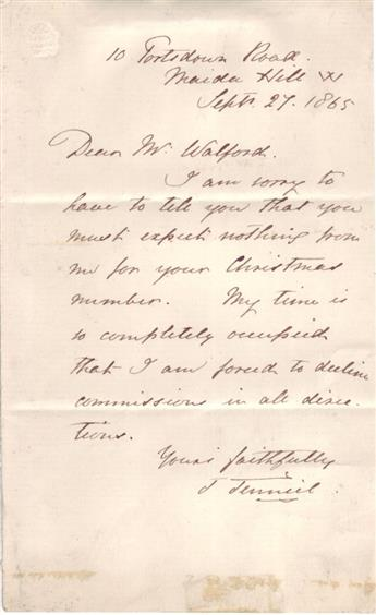 TENNIEL, JOHN. Autograph Letter Signed, J Tenniel, to Dear Mr. Walford,