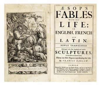 AESOP.  Aesops Fables with his Life; in English, French, and Latin. Newly translated.  1687