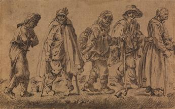 JACQUES CALLOT (FOLLOWER OF) (Nancy 1592-1625 Nancy) A Group of Beggars (The Blind Leading the Blind).
