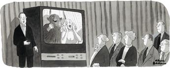(ADVERTISING / CARTOON) CHARLES ADDAMS. The Company has decided its time for a new approach.