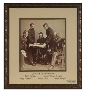 (CIVIL WAR--PHOTOGRAPHY.) [Gardner, Alexander; photographer.] Sheridan's Staff of Generals.