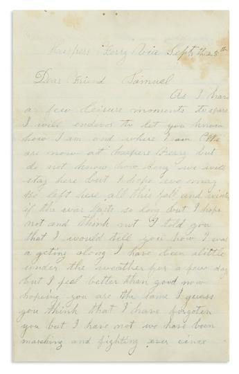 (CIVIL WAR--PENNSYLVANIA.) Eck, John F. Letter describing the Battle of Antietam and the assault on Bloody Lane.