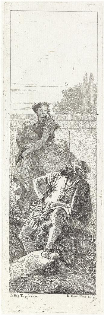 GIOVANNI D. TIEPOLO Uomo seduto e Donna che porta un Vaso.
