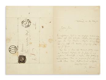 SCHUMANN, ROBERT. Autograph Letter Signed, R. Schumann, to music publisher Michael Schloß, in German,
