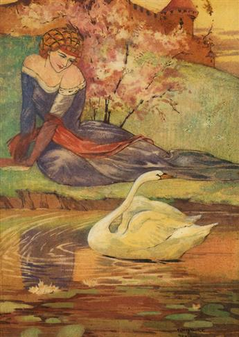 CONSTANCE ETHEL ROWLANDS. Princess Regarding a Swan.