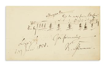 SCHUMANN, ROBERT. Autograph Musical Quotation dated and Signed, R. Schumann, 4 bars from the first act of his Genoveva (Op. 81),