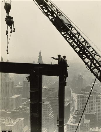 LEWIS W. HINE (1874-1940) Derrick and workers on girder, Empire State Building.