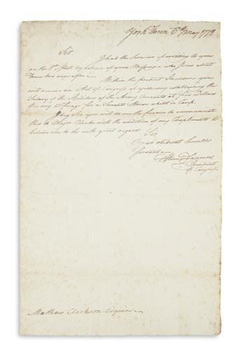LAURENS, HENRY. Autograph Letter Signed, as president of the Continental Congress, to the armys chief auditor Matthew Clarkson,