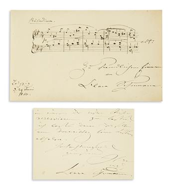 SCHUMANN, CLARA. Two items: Autograph Musical Quotation Signed and Inscribed * Autograph Letter Signed.