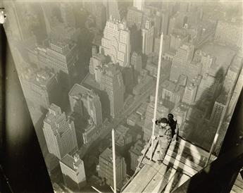 LEWIS W. HINE (1874-1940) Worker on platform (with shadow of tower).