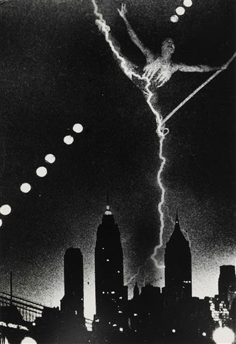 WEEGEE [ARTHUR FELLIG] (1899-1968) Skyline and tightrope walker montage.