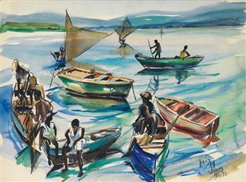 LOÏS MAILOU JONES (1905 - 1998) Fishermen at Port-Au-Prince.