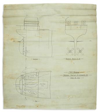 (OCEAN LINERS.) Approximately 25 hand-drawn ship-builders schematic plans.